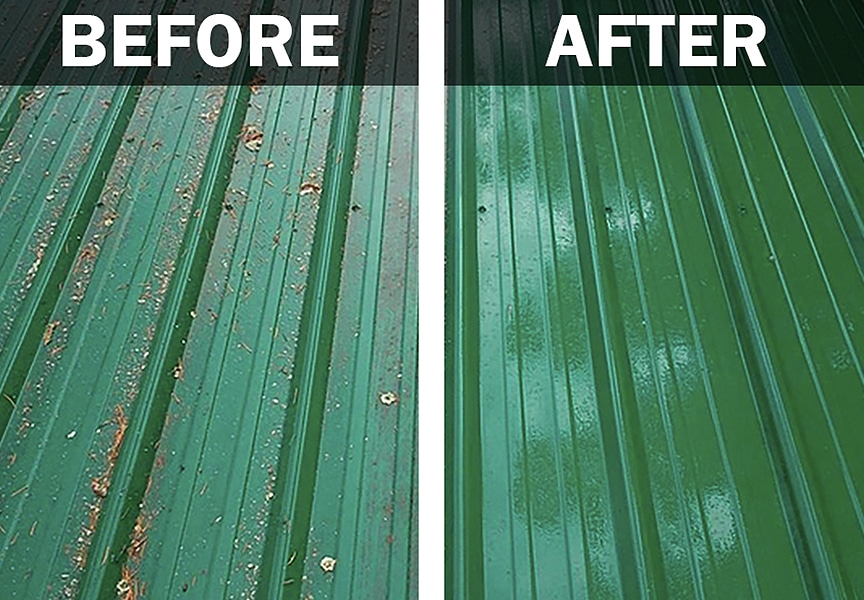 Cleaning a Painted Metal Roofing System: How To & Best Methods: Removing Stuck Elements