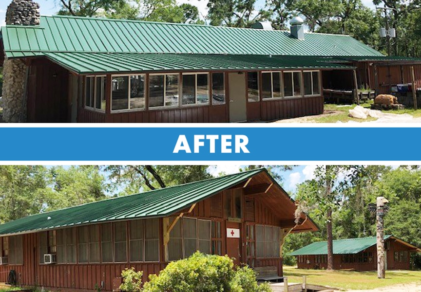 Florida Contractors Install Donated Metal Roof at Wallwood Scout Reservation: After