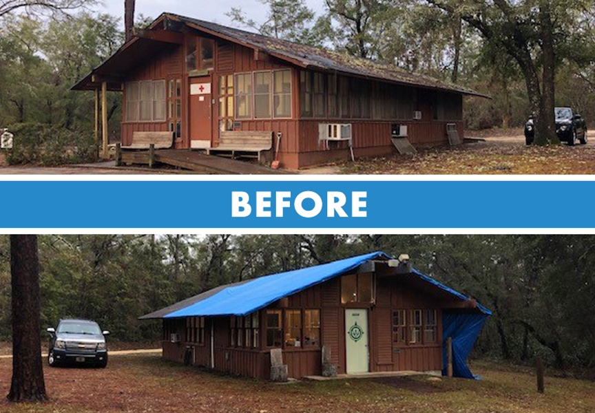 Florida Contractors Install Donated Metal Roof at Wallwood Scout Reservation: Before