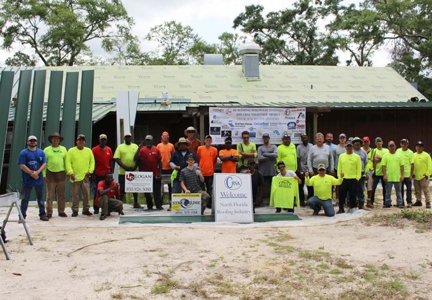 Florida Contractors Install Donated Metal Roof at Wallwood Scout Reservation: Contractors On Site
