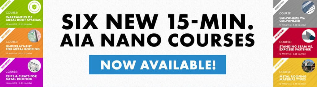 Sheffield Metals Releases Six AIA-Approved Continuing Education Nano Courses: Banner