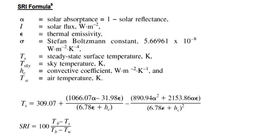 What is Cool Metal Roofing? Reflectance, Emissivity, SRI, & Cost Savings: SRI Formula