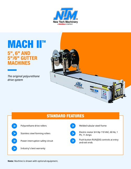 "Metal Forming Machinery & Equipment: MACH II 5"", 6"", & 5""/6"" Combo Gutter Machines"