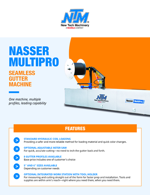 Metal Forming Machinery & Equipment: Nasser MultiPro Seamless Gutter Machine