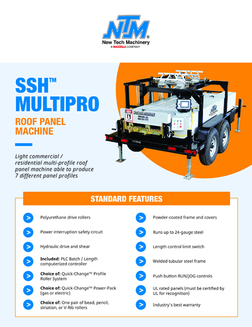 Metal Forming Machinery & Equipment: SSH MultiPro Roof Panel Machine