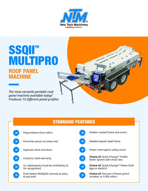 Metal Forming Machinery & Equipment: SSQ II MultiPro Roof Panel Machine