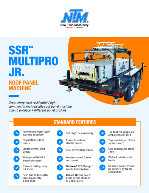 Metal Forming Machinery & Equipment: SSR MultiPro Jr. Roof Panel Machine